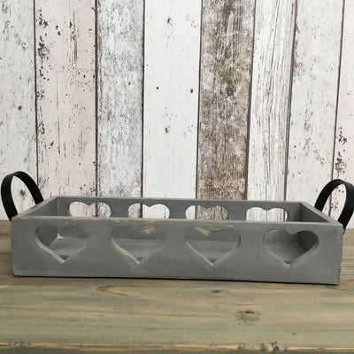 Retreat - Grey Wooden Heart Trug