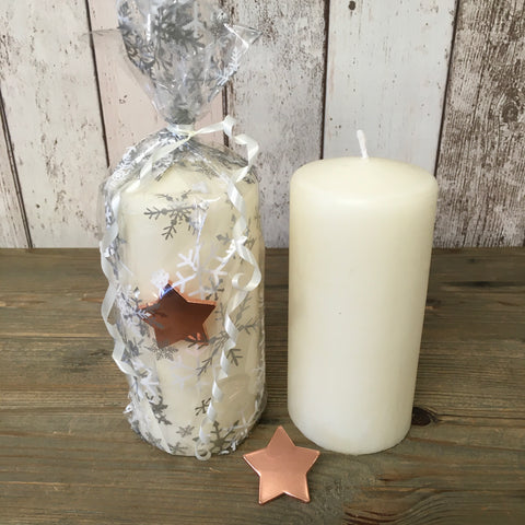 G2G Cream Candle with Candle Pin - Rose Gold Star