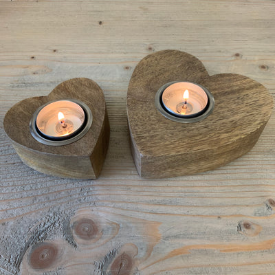 Retreat - Natural Wooden Chunky Heart Tealight Candle Holder