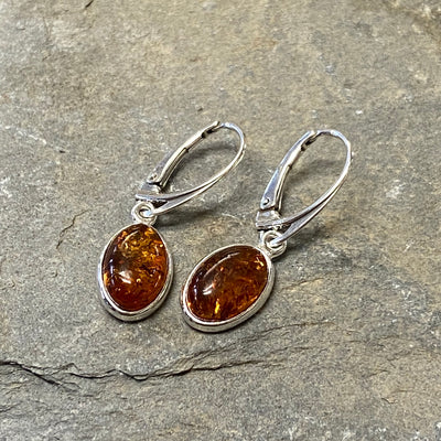 Sterling Silver Amber Large Oval Drop Earrings