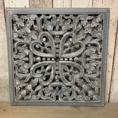 Retreat - Grey Wooden Carved Square Panel