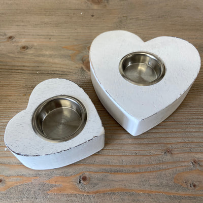 Retreat - White Wooden Chunky Heart Tealight Candle Holder