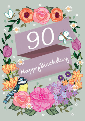 '90' Happy Birthday Card - Flowers
