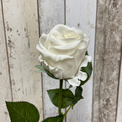 Artificial 'Feel Real' Rose Stem-White