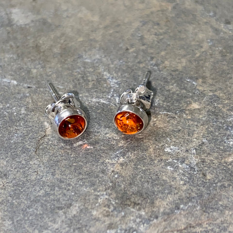 Sterling Silver Dainty Round Amber Stud Earrings