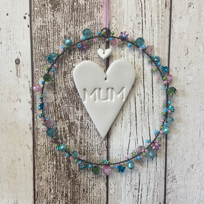 Mum Beaded Hanging Decoration With Ceramic Heart