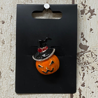 Halloween Pumpkin Witch Brooch