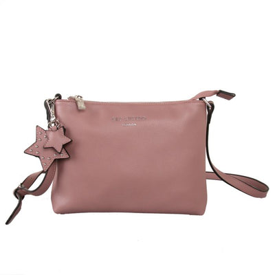 Soft Feel Cross Body Handbag With Star Bag Charm - Dusky Pink