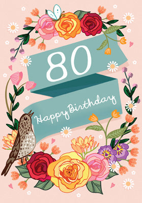 '80' Happy Birthday Card - Birds & Roses