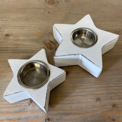 Retreat - White Wooden Chunky Star Tealight Candle Holder