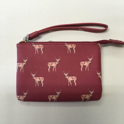 Stags Print Purse With Wrist Strap