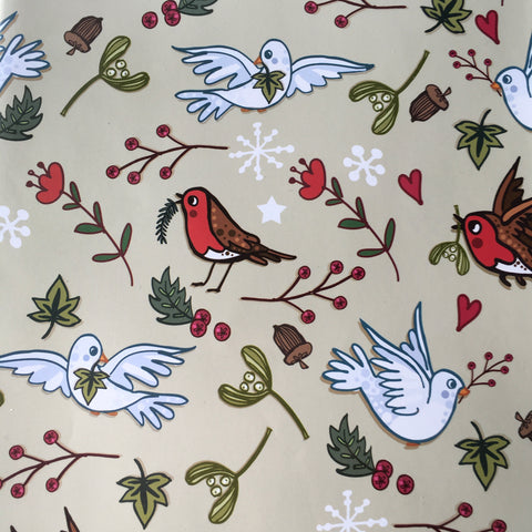 Robins and Doves Gift Wrap and Gift Tag