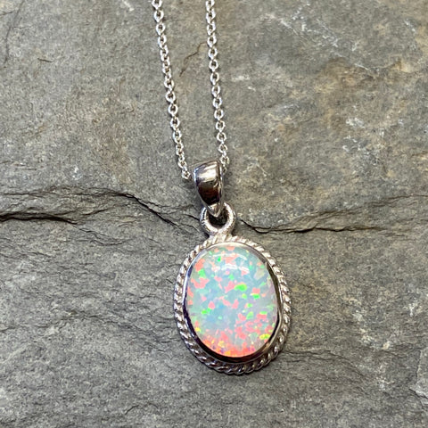 Sterling Silver White Opal Oval Rope Edge Pendant