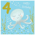 Octopus 4th Birthday Card