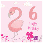 Flamingo 6th Birthday Card