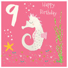 Seahorse 9th Birthday Card