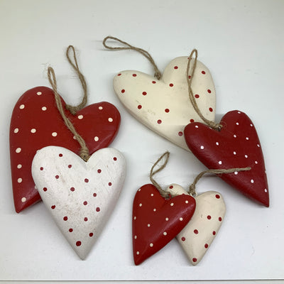 Red and Cream Polka Dot Hanging Wooden Hearts