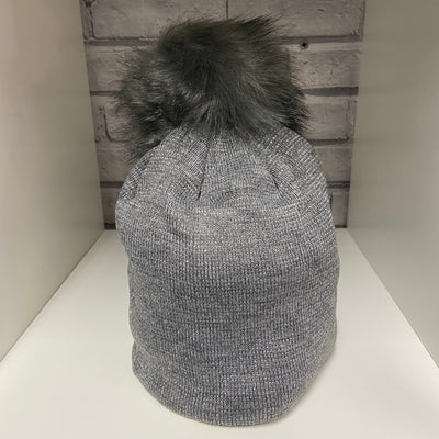 Wool Bobble Hat With Metallic Threat Detail & Pom Pom - Silver Grey