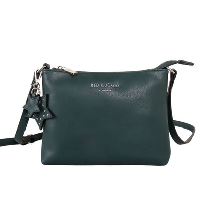 Soft Feel Cross Body Handbag With Star Bag Charm - Dark Green