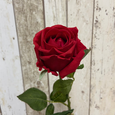 Artificial 'Feel Real' Rose Stem-Red