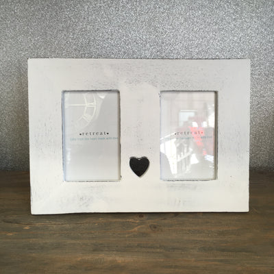 Retreat - White Heart Wooden Double Frame