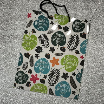 "Gift Bag - ""Have A Beautiful Day"" Leaves Print"
