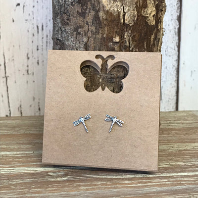 Sterling Silver Dragonfly Stud Earrings
