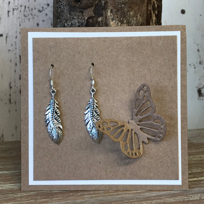 Sterling Silver Large Feather Drop Earrings
