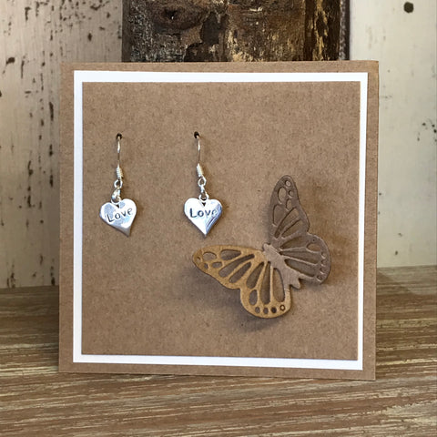 Sterling Silver LOVE Heart Drop Earrings