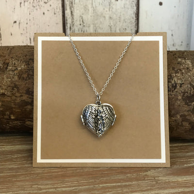 Sterling Silver Chunky Angel Wings Locket