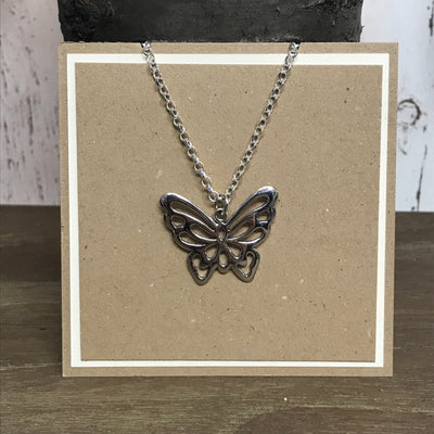 Sterling Silver Chunky Butterfly Pendant
