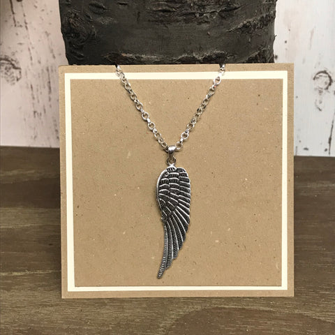Sterling Silver Large Angel Wing Pendant