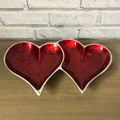 Aluminium Enamelled Double Heart Dish - Red