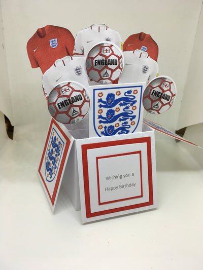 Handcrafted Pop-Up Box Style Football Card England