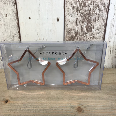 Retreat Open Star Pack Of 2 Hanging Decorations In Rose Gold