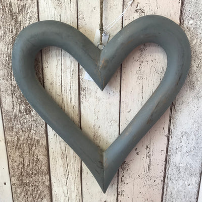 Retreat Grey Wooden Open Hanging Heart Large