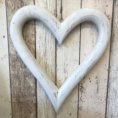 Retreat - White Wood Open Hanging Heart Large