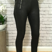 Black Stretchy PU Leggings With Zip Pocket Detail