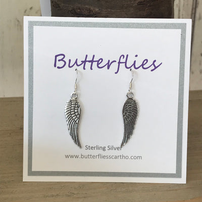 Sterling Silver Large Angel Wing Drop Earrings