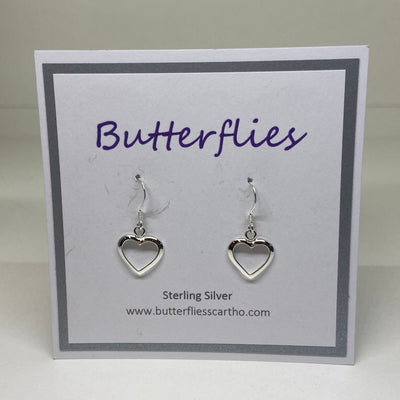 Sterling Silver Open Heart Drop Earrings