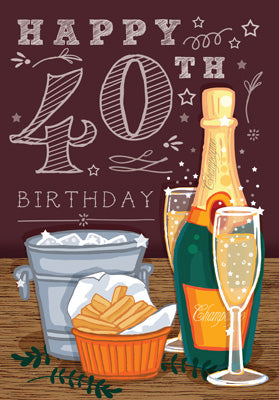 '40' Happy 40th Birthday Card - Champagne