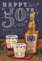 '50' Happy 50th Birthday Card - Whisky