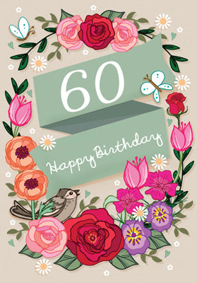 '60' Happy Birthday Card - Bird/Flowers