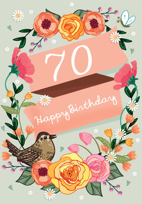 '70' Happy Birthday Card - Bird/Flowers