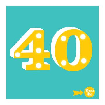 40th Light Up Birthday Card