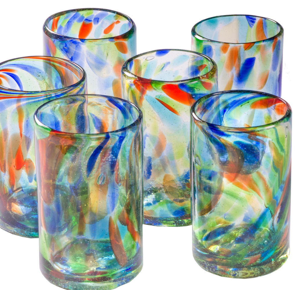Orion Confetti Glasses featuring Artisan, Handcrafted Mexican Glassware