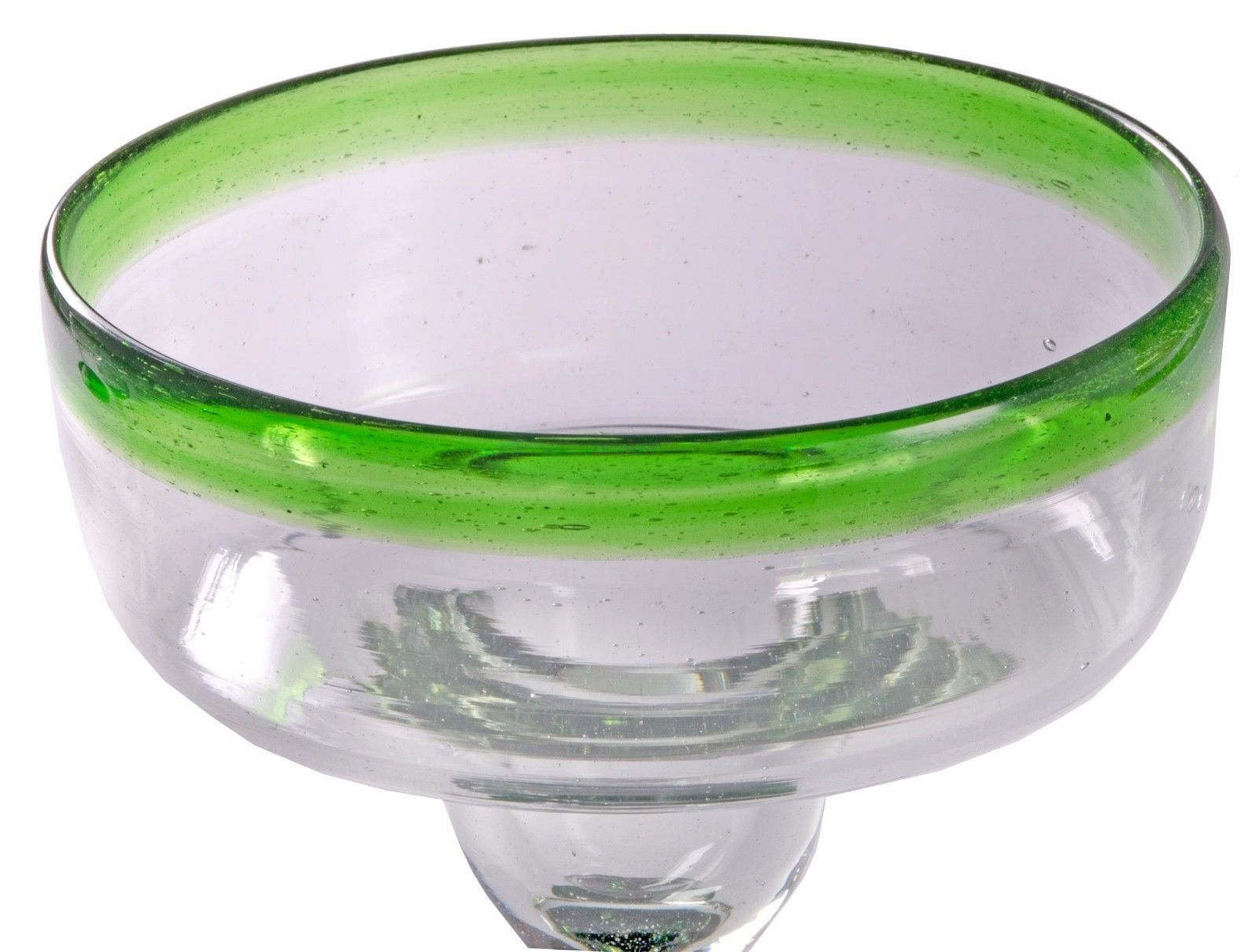 Orion Mexican Glassware Green Rim 12 oz Margarita/Coupette - Set of 4 - Orion's Table Mexican Glassware