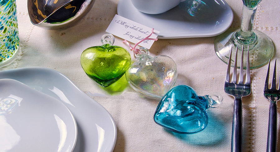 Handcrafted Glass Heart Ornament - Orion's Table Mexican Glassware