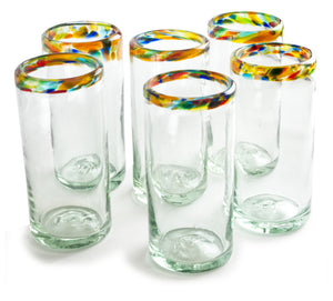 Orion Confetti Rim 22 oz Tall Tumbler - Orion's Table Mexican Glassware