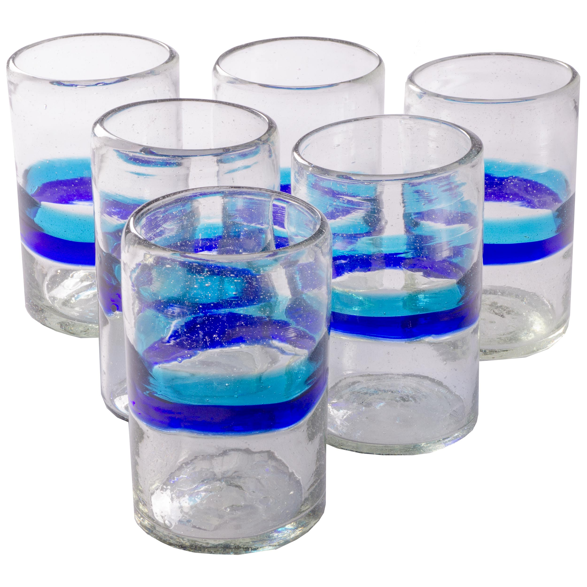 Orion Banded Turquoise/Cobalt 16 oz Tumbler - Orion's Table Mexican Glassware